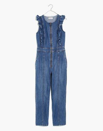 Denim Ruffle-Sleeve Zip-Front Jumpsuit blue