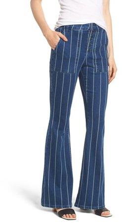 Stripe High Waist Flare Jeans