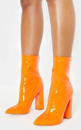 Orange Block Heel Point Boot | Shoes | PrettyLittleThing