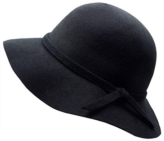 Amazon.com: Kids Girl's Vintage Dome Wool Felt Bowler Cap Floppy Hat Bow, Black: Clothing