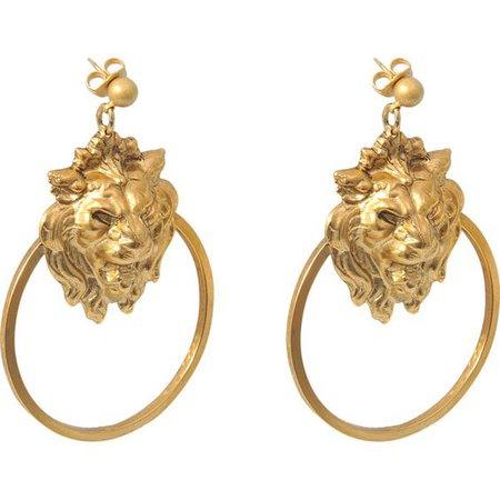 gold lion earrings