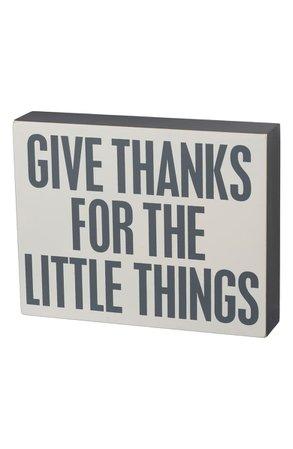 Primitives by Kathy Give Thanks Slat Box Sign | Nordstrom