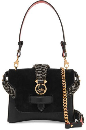 Rubylou Small Laser-cut Textured-leather And Suede Shoulder Bag - Black