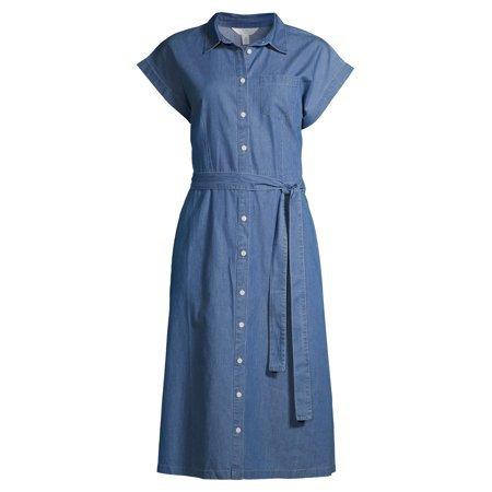 Time and Tru - Time and Tru Women's Denim Belted Midi Shirt Dress - Walmart.com
