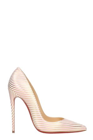 Christian Louboutin So Kate 120 White Red Gold Leather Pumps