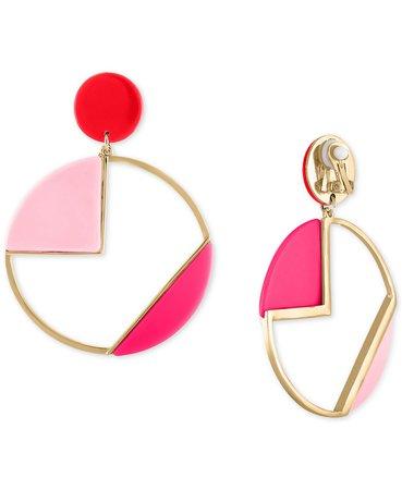 RACHEL Rachel Roy Gold-Tone Multicolor Geometric Circle Drop Clip-On Earrings & Reviews - Earrings - Jewelry & Watches - Macy's