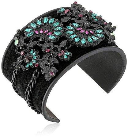 Amazon.com: Steve Madden Casted Floral Patterned Bangle Bracelet, Black: Clothing