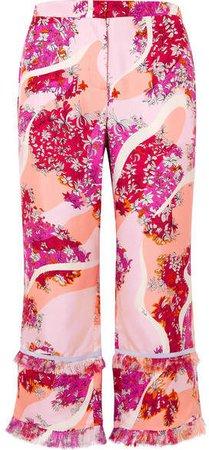 Fringed Printed Silk-twill Wide-leg Pants - Pink