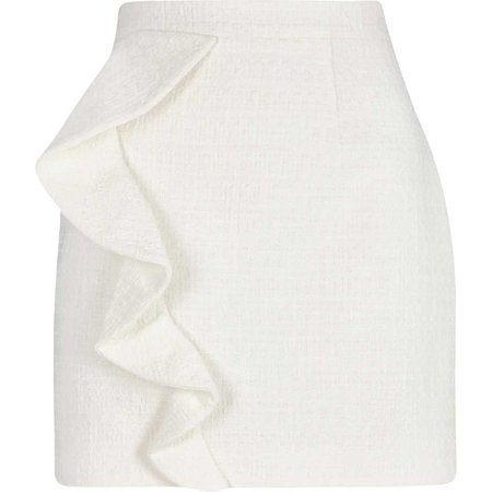 White frill front boucle mini skirt - Skirts - Sale - women