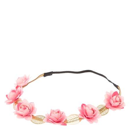 Pink Roses & Leaves Headwrap