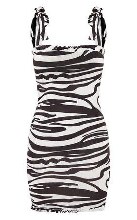Black Zebra Tie Shoulder Frill Bodycon Dress   PrettyLittleThing USA