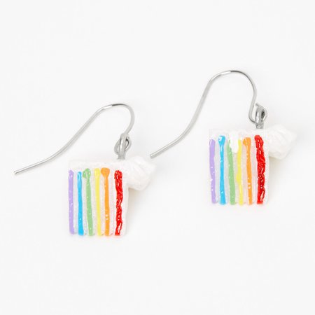 """Silver 0.75"""" Rainbow Cake Drop Earrings 