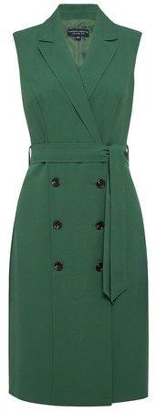 Green Sleeveless Trench Dress