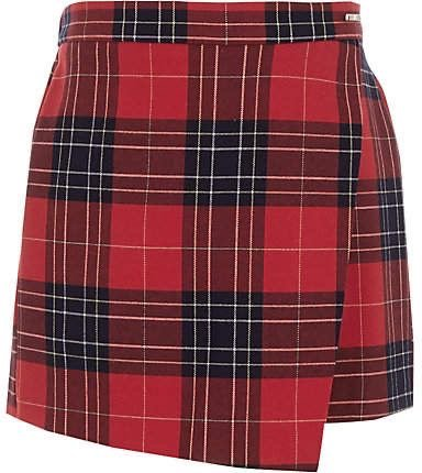 River Island Girls red plaid skort