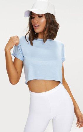 Basic Powder Blue Roll Sleeve Crop T Shirt   PrettyLittleThing USA