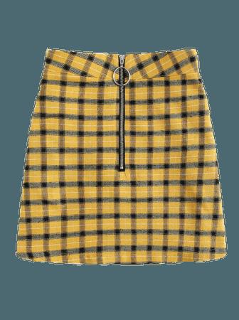Plaid  Yellow Skirt