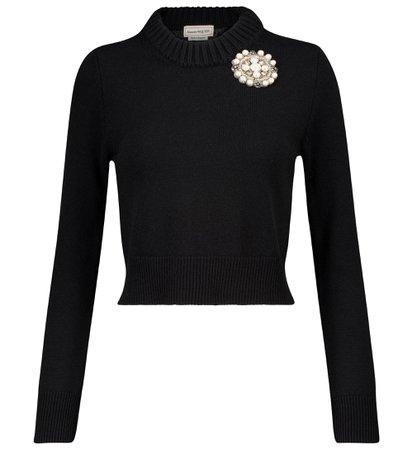 Alexander McQueen Embellished cashmere sweater