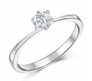 9ct White Gold 1/3 Carat Six Claw Fine Diamond Solitaire Engagement Ring - White Gold Rings at Elma UK Jewellery