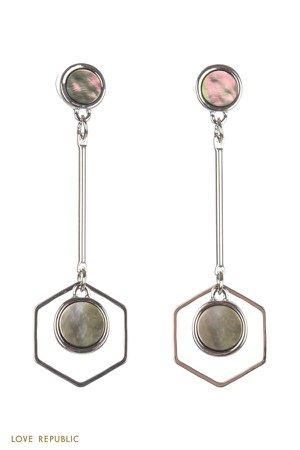 Геометричные серьги с декором из перламутра 044048058-6 - купить в интернет-магазине LOVE REPUBLIC по цене: 1 199 руб
