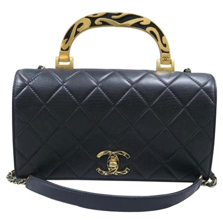 Chanel Bag with Classic Flap Crossbody Rare Enamel Top Handle Black Lambskin Bag For Sale at 1stDibs