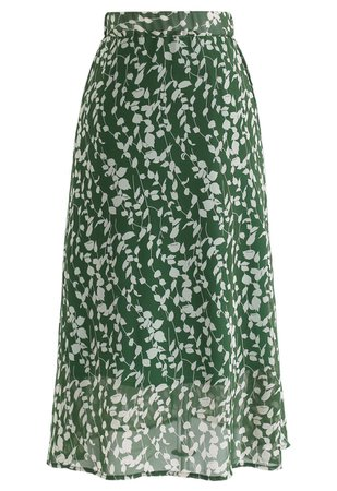Evergreen Wildflower A-Line Chiffon Midi Skirt - Retro, Indie and Unique Fashion
