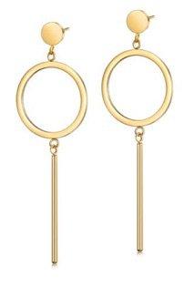 Gold Bar & Circle Earring
