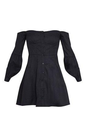 Black Waist Detail Long Sleeve Bardot Skater Dress | PrettyLittleThing USA