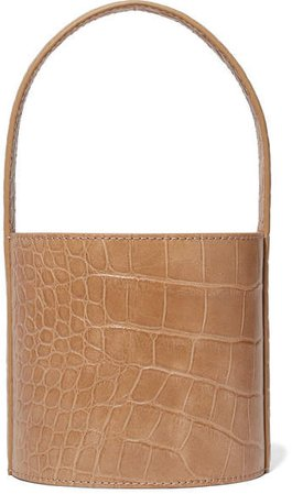 Bissett Mini Croc-effect Leather Bucket Bag - Camel