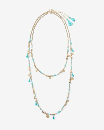 Two Layer Tassel Beaded Necklace | Express