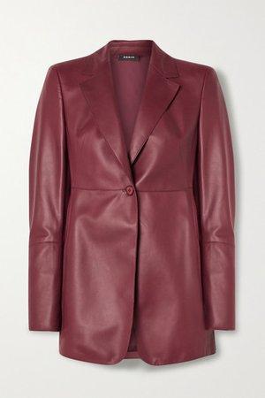 Leather Blazer - Burgundy