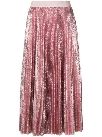 MSGM Pleated Sequin Midi Skirt $1,385 - Shop AW18 Online - Fast Delivery, Price