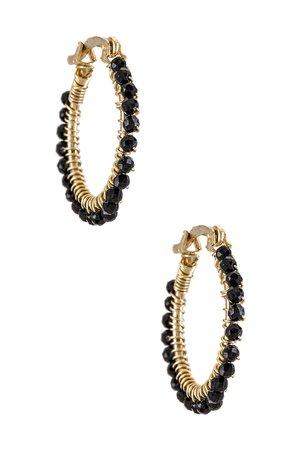 Mercedes Salazar Florecitas Hoop Earrings in Black | REVOLVE