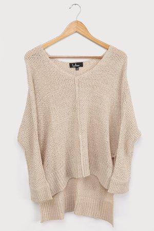 Beige Sweater - Oversized Knit Sweater - Tunic Sweater - Lulus