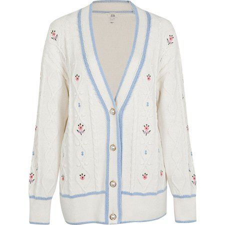 Cream embroidered cable knit cardigan | River Island