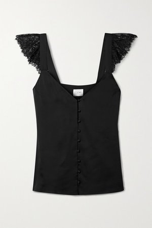 Victoria Lace-trimmed Silk-charmeuse Camisole - Black