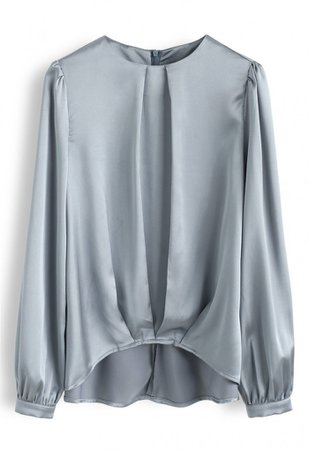 Hi-Lo Hem Satin Smock Top in Teal - NEW ARRIVALS - Retro, Indie and Unique Fashion