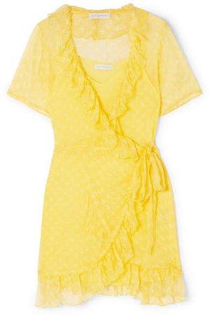 Cloe Cassandro - Kimi Printed Silk-crepon Wrap Mini Dress - Yellow