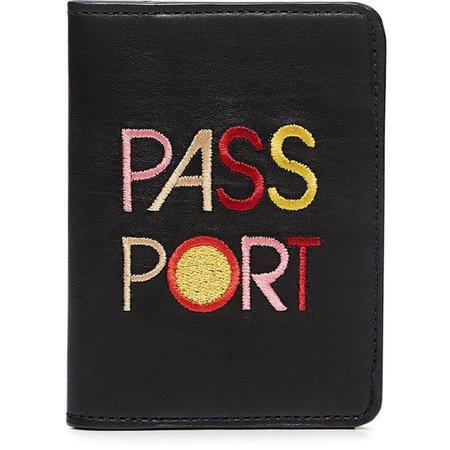"Lizzie Fortunato Embroidery ""PASSPORT"" Leather Passport Cover"