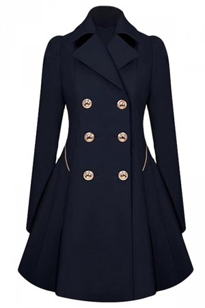 Womens Double-breasted Pleated Slimming Trench Coat Navy Blue - PINK QUEEN