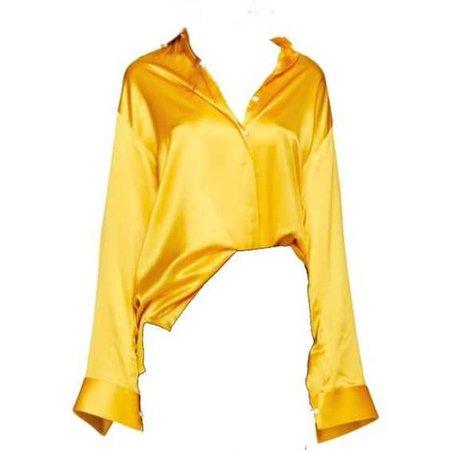 Yellow Silk Collar Shirt