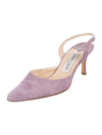 Jimmy Choo Suede Slingback Pumps - Shoes - JIM87447   The RealReal
