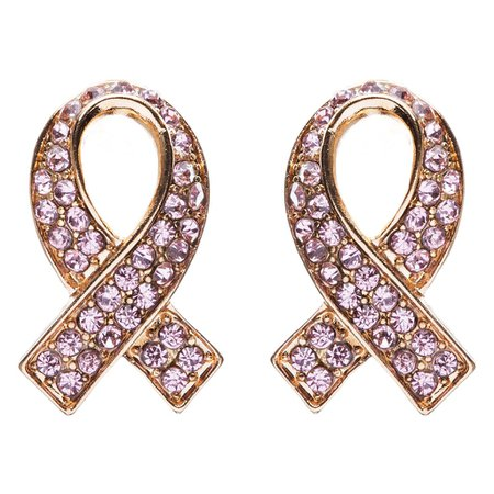 Pink Ribbon Breast Cancer Awareness Jewelry Crystal Rhinestone Earring – Accessoriesforever