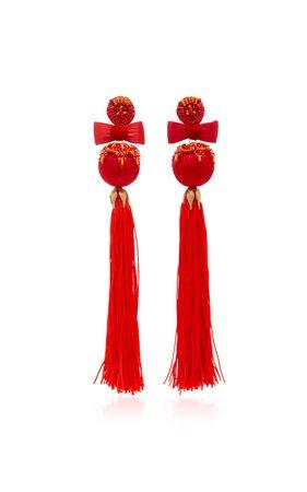 Embellished Tassel Earrings by Ranjana Khan | Moda Operandi