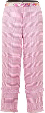 Cropped Fringed Houndstooth Woven Straight-leg Pants - Pink