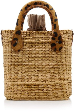 Le Nord Leopard-Print Suede-Trimmed Straw Tote