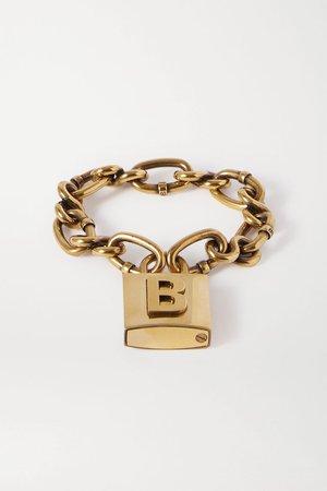 BALENCIAGA Lock embossed gold-tone bracelet