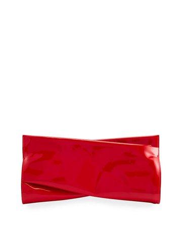 Christian Louboutin Loubi Twist Patent Zip Clutch Bag