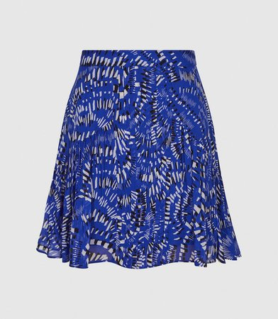 Emelia Blue Print Printed Mini Skirt – REISS