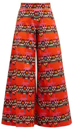 Rianna + Nina - Carnaval Geometric Print Cotton Wide Leg Trousers - Womens - Red Multi