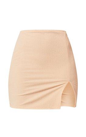 Stone Textured Woven Split Leg Mini Skirt | PrettyLittleThing USA